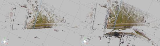 1カ所だけ(画像左)と2カ所(画像右)を合成した点群の増え方